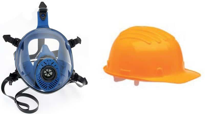 elemetto e maschera di sicurezza